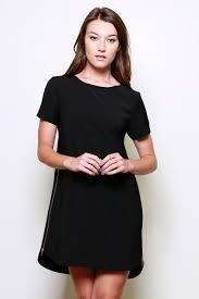 tunic shift dress shirt sleeve zipper sides black memdalet