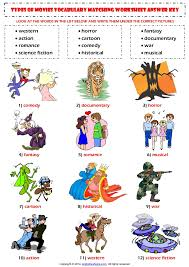 types of films movies esl vocabulary matching exercise worksheet