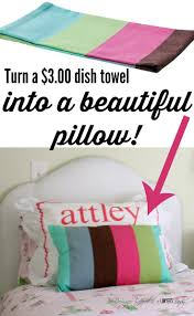 easy diy throw pillow cover from a dishtowel designer trapped