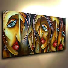 unique painting urban art painting modern portrait cubist expression mix lang cert