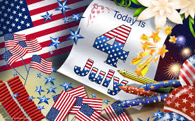 today is 4 july independence day usa flags firework vector