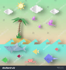origami style crafted out paper cut stock vector 674204944