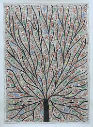 multicolored madhubani painting of a tree with birds tree of