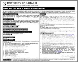 M S University by University Of Karachi Uok Ms Mphil Phd Admission 2017