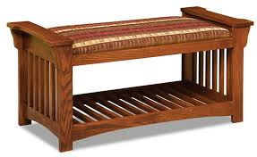Slat Bench Mission Upholstered Slat Bench With Optional Baskets From