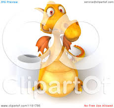 clipart of a 3d yellow dragon holding a coffee cup royalty free