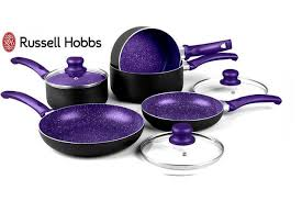 Russell Hobbs Purple Toaster 8pc Russell Hobbs Marble Effect Induction Pan Set 3 Colours