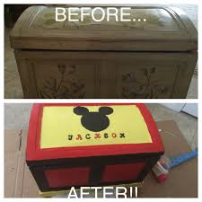 mickey mouse toy box from an old chest diy for the boys
