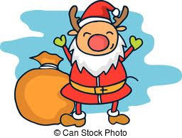 child sitting clipart christmas reindeer in santa s red hat reindeer child vector