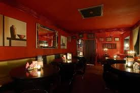 cool restaurant design ideas with red wall and ceiling color and