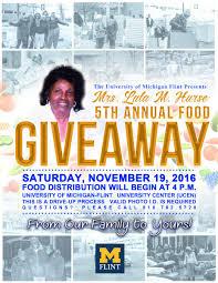 free thanksgiving food giveaway lula m hurse food giveaway university of michigan flint