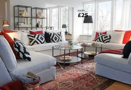 living room exquisite image of living room with red sofa for your