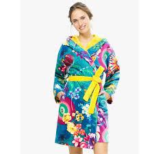 robe de chambre femme coton peignoir capuche coton velours 380 gr m imprimé paisley bloom femme