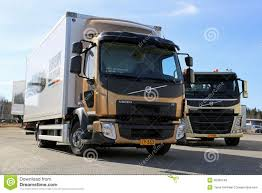 volvo heavy duty trucks volvo fl512 citipro and fm11 hookpro trucks editorial stock photo