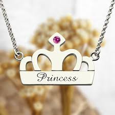 silver name charm necklace images Crown charm necklace with birthstone name sterling silver jpg