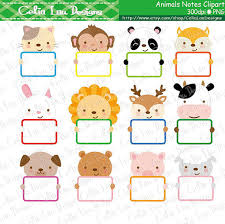 animals notes clip animals holding message cards