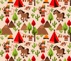 cowboy wrapping paper cowboy and indian western kids theme with teepee tent and horses