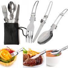 Ebay Kitchen Knives 3pcs Camping Hiking Picnic Travel Folding Set Cutter Fork Spoon