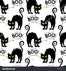 halloween cat silhouette background abstract seamless pattern girls boys creative stock vector
