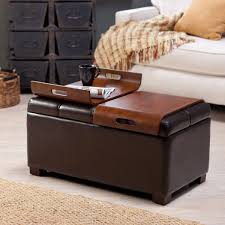 furniture brown leather square ottoman coffee table when you open