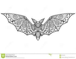 zentangle bat totem for anti stress coloring page stock