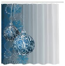blue silver ornaments fabric shower curtain