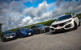 honda car comparison honda civic type r vs subaru wrx sti vs vw golf r vs ford focus rs
