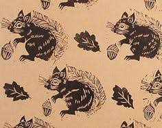 squirrel wrapping paper linocut squirrel and nut wrapping paper by jennydevereuxstudio