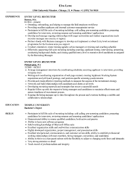 entry level resumes entry level recruiter resume sles velvet
