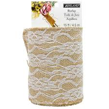 colored burlap ribbon burlap with lace overlay by ashland