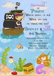 mermaid pirate party invitations home party ideas