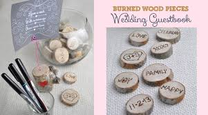 nature themed wood burned interactive wedding guestbook club