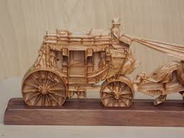 western decor stagecoach stagecoach wood carving with stand