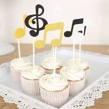 cupcake toppers 6 pcs lot musical note cupcake toppers birthday cake topper gold