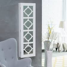 Jewelry Cabinet Mirror Furniture White Over The Door Jewelry Armoire With 5 Drawers And