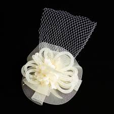 european style floral yarn french veil feather hair accessories