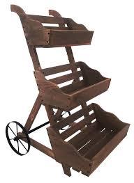 Wooden Wheelbarrow Planter by Leighcountry Charred 3 Tiered Wood Wheelbarrow Planter U0026 Reviews