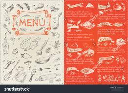 menu cover page menu list sketches stock vector 423560911