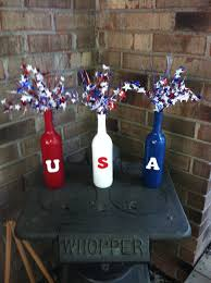 Spray Paint Wine Bottle Crafts Fourth Of July Spray Paint Wine Bottles Glue Painted Wooden