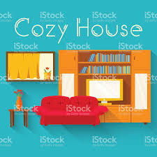 Inhouse Flat Cozy Room In House With Furniture Background Vector