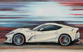A Ferrari 812 Superfast In Motion In A Great Cream Color Painted
