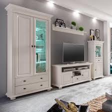 Wohnzimmer Massivholz Landhaus Wohnwand Tyramus In Weiß Aus Fichte Pharao24 De