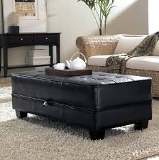 ottoman appealing brown leather large square storage ottoman