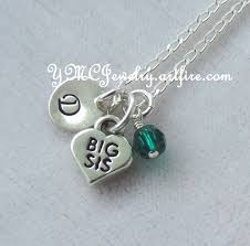 Monogrammed Necklace Sterling Silver Big Sister Or Lil Sister Birthstone Initial