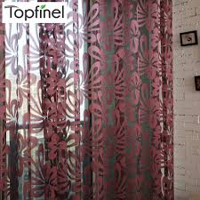 Sheer Maroon Curtains Topfinel Luxury Shade Geometric Tulle For Windows Sheer Curtains