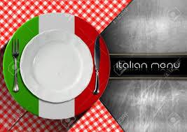 Flags Restaurant Menu Restaurant Menu With Italian Flag White Empty Plate Silver