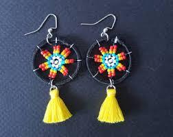 Native American Beaded Earrings Huichol Huichol Earrings Heart Earrings Seed Bead Earrings Native