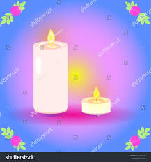 small tea light candles vector illustration two lit candles tall stock vector 243984709