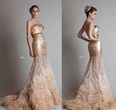 arab dubai gold ostrich hair tassel mermaid wedding dresses 2017
