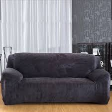 3 Seat Sectional Sofa Modern Elastic Slipcover Solid Color Thick Plush Stretch Sectional